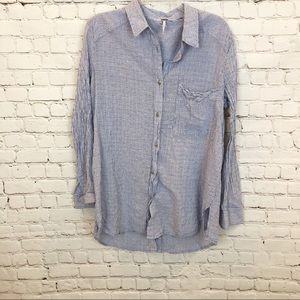 FREE PEOPLE/ button up stripped long sleeve top